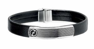 【送料無料】メンズブレスレット ステンレススチールレザーブレスレット zoppini stainless steel amp; leather bracelet l1196 0005