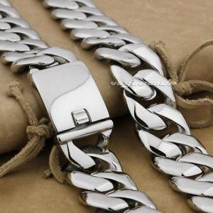 【送料無料】メンズブレスレット ステンレススチールリンクチェーンメンズバイカーパンクネックレス