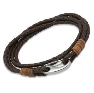 【送料無料】メンズブレスレット ユニークmensブラウンブレスレットb178lb19ラップunique mens brown braided leather wrap around bracelet b178lb19