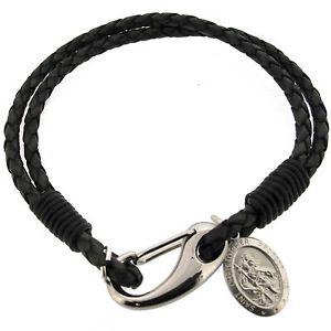 【送料無料】メンズブレスレット メンズレザーラップブレスレットスターリングシルバーセントクリストファーペンダントmens leather wrap bracelet amp; engrave 925 sterling silver st christopher pendant