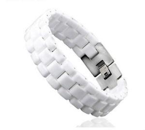 【送料無料】メンズブレスレット link bracelet largeマンceramic white and steel22cm 17mmcheap 10link bracelet large man ceramic white and steel 22cm 17mm che