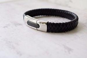 【送料無料】メンズブレスレット レザーブレスレットカスタムmens personalised leather bracelet custom engraved gift