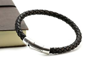 【送料無料】メンズブレスレット メンズmens leather braceletgenuine chunky braided leathersterling silver claspbrown