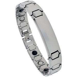 【送料無料】メンズブレスレット タングステンカーバイドブレスレットtungsten carbide magnetic id bracelet