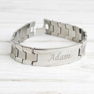 【送料無料】メンズブレスレット パーソナライズステンレススチールメンズブレスレットプレゼントpersonalised engraved stainless steel mens id identity bracelet  birthday gift