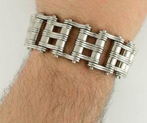 【送料無料】メンズブレスレット ステンレススチールヘビーメタルオートバイライダーバイクチェーンブレスレット95 316l stainless steel heavy metal bike chain bracelet for motorcycle biker