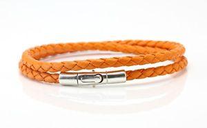 【送料無料】メンズブレスレット ナッパレザースターリングシルバーbraided nappa leather amp; 925 sterling silver braceletdouble wrappedorange