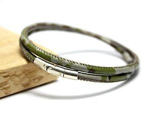 【送料無料】メンズブレスレット メンズカムフラージュmens camouflage braceletgenuine leathersterling silver claspgreen camo wrap