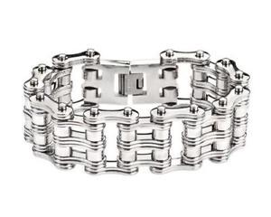【送料無料】メンズブレスレット ユニークダブルリンクステンレススチールバイクチェーンブレスレットヘビーメタルunique double link design 85 stainless steel bike chain bracelet heavy metal
