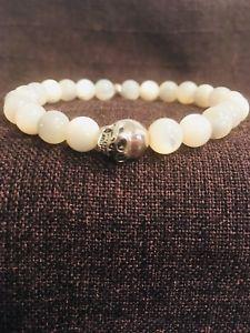 送料無料 メンズブレスレット メンズビーズブレスレットスターリングシルバースカルハンドメイドmens bead bracelet 925 sterling silver skull amp; mother of pearl gemstone handmade7Yfgvb6Iy