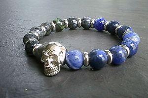 【送料無料】メンズブレスレット メンズステンレススチールスカルブレスレットビーズゴシックスケルトンスカルmens stainless steel skull bracelet 10mm stone beads gothic skeleton skull uk
