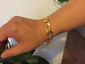 【送料無料】メンズブレスレット ライフタイムkゴールドメッキリンクブレスレットlifetime guarantee sg1207 9 18k gold plated link bracelet, mens blgiftshop