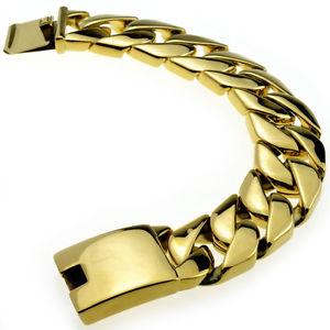 【送料無料】メンズブレスレット 24mm316ポンドステンレスブレスレットmensチェーンb19024mm huge gold finish round curb 316l stainless steel bracelet mens chain b190