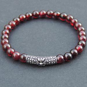 【送料無料】メンズブレスレット ブレスレットレッドガーネットスターリングシルバークロスメートルmens healing gemstone bracelet red garnet s925 sterling silver cross charm 499m