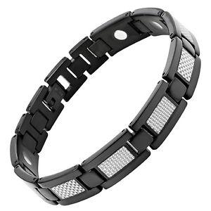 【送料無料】メンズブレスレット メンズチタンブレスレットシルバーカーボンファイバーフリーアジャスタボックス mens titanium magnetic bracelet silver carbon fibre free adjuster gift box