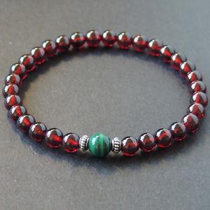 【送料無料】メンズブレスレット メンズブレスレットガーネットマラカイトスターリングシルバーメートルmens bracelet healing gemstone 55mm garnet malachite s925 sterling silver 626m