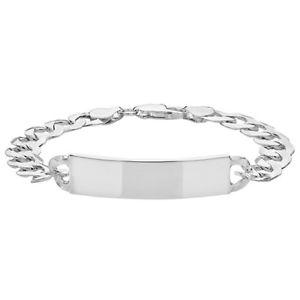 【送料無料】メンズブレスレット スターリングシルバーメンズオープンフラットブレスレットサービス925 sterling silver gents mens open flat curb id bracelet 85 free engraving
