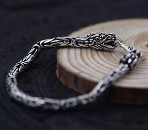 【送料無料】メンズブレスレット ソリッドスターリングシルバーメンズドラゴンチェーンクラスプカフブレスレットsolid 925 sterling silver mens heavy dragon chain clasp cuff bracelet