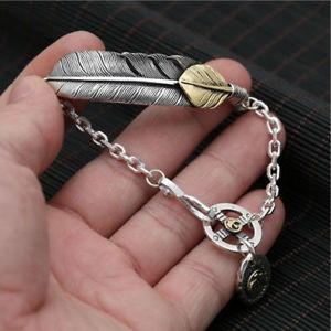 【送料無料】メンズブレスレット スターリングシルバーイーグルフェザーチェーンリンククロスチャームブレスレット 925 sterling silver gilded eagle feather chain link cross charm bracelet