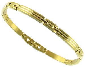 【送料無料】メンズブレスレット ソリッドステンレススチールゴールドトーンシンメンズブレスレットrochet roma solid stainless steel gold tone thin mens bracelet