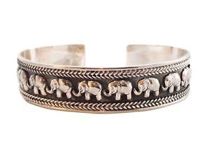 【送料無料】メンズブレスレット ゴージャススターリングシルバーカフエレファントブレスレットgorgeous tribal artisan sterling silver 925 open cuff elephant jewelry bracelet