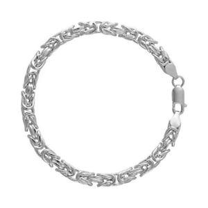 【送料無料】メンズブレスレット スターリングシルバーメンズビザンチンチェーンブレスレットsterling silver 925 mens gents chunky hollow square byzantine chain bracelet 6mm