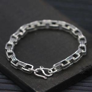 【送料無料】メンズブレスレット ソリッドスターリングシルバーメンズスクエアチェーンカフブレスレットsolid 925 sterling silver mens square chain cuff bracelet 17cm