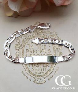 【送料無料】メンズブレスレット メンズスターリングシルバーフラットアンカーブレスレットパーソナライズmen's sterling silver flat anchor id bracelet 8 engrave personalise medical