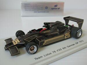 【送料無料】模型車 スポーツカー スパークロータス#ドイツグランプリスケールspark, s1847, lotus 78 25, 6th german gp 78, rebaque, 143 scale f1 resin car