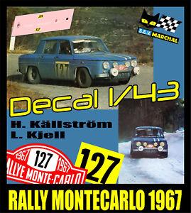 【送料無料】模型車 スポーツカー デカールルノーラリーモンテカルロdecal 143 renault 8 gordini h kllstrm l kjell rally montecarlo 1967
