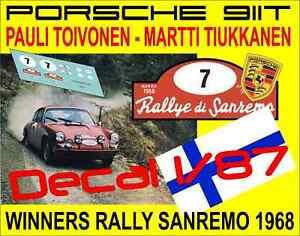 【送料無料】模型車 スポーツカー デカールポルシェラリーサンレモdecal 187 porsche 911t p toivonen m tiukkanen rally sanremo 1968