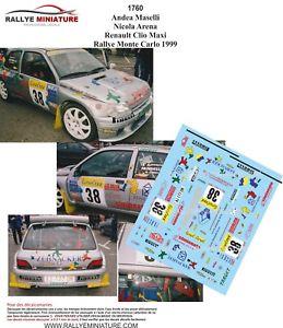 【送料無料】模型車 スポーツカー デカールルノークリオマキシラリーモンテカルロマゼッリラリーdecals 143 ref 1760 renault clio maxi rallye monte carlo maselli 1999 rally wrc