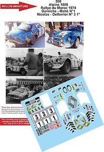 【送料無料】模型車 スポーツカー デカールアルパインルノーデュラリーdecals 143 ref 508 alpine renault a110 darniche rallye du maroc 1974 rally wrc