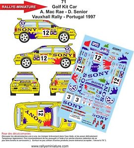 【送料無料】模型車 スポーツカー ディーキャル1430071 vw volkswagenゴルフキットmcrae vauxhall1997decals 143 ref 0071 vw volkswagen golf kit car mcrae vauxhall rally 199