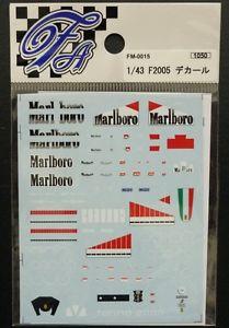 【送料無料】模型車 スポーツカー 'デカールフェラーリタバコ listingfartefice decals f fm0015 143 ferrari f2005 tobacco