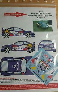 【送料無料】模型車 スポーツカー デカールルノーメガーヌマキシラリーモンテカルロラリーdecals 132 ref 667 renault megane maxi ragnotti rally monte carlo 1997 rally