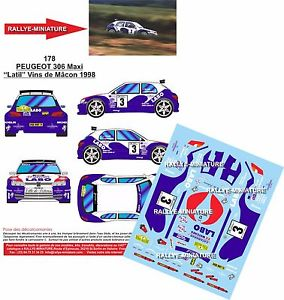 DECALS 1//32 REF 120 PEUGEOT 306 MAXI LOPEZ RALLYE MONTE CARLO 1998 RALLY WRC