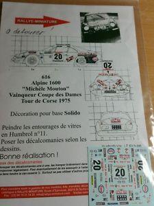 【送料無料】模型車 スポーツカー デカールアルパインルノーツールドコルスラリーdecals 132 ref 616 alpine renault a110 rallye sheep tour de corse 1975 rally