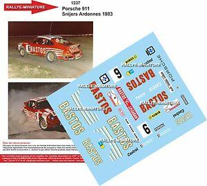【送料無料】模型車 スポーツカー デカールポルシェラリーアルデンヌラリーdecals 132 ref 1237 porsche 911 bastos snijers 1983 rallye ardennes rally