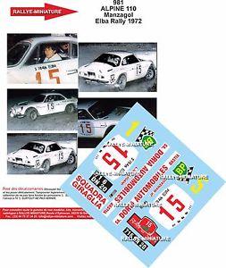 【送料無料】模型車 スポーツカー デカールアルパインルノーエルバラリーラリーイタリアdecals 132 ref 981 alpine renault a110 manzagol elba rally 1972 rally italia