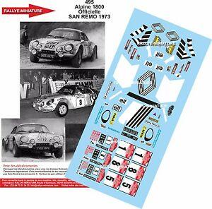 【送料無料】模型車 スポーツカー デカールアルパインルノーラリーサンレモラリーdecals 124 ref 495 alpine renault a110 therier 1973 rallye san remo rally wrc