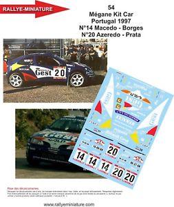 【送料無料】模型車 スポーツカー デカールルノーポルトガルラリーマキシラリーdecals 124 ref 0054 renault megane maxi azeredo rally of portugal 1997 rally