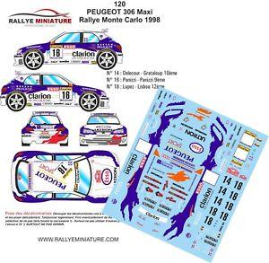 【送料無料】模型車 スポーツカー デカールプジョーマキシモンテカルロラリーdecals 124 ref 120 peugeot 306 maxi panizzi monte carlo rally 1998 wrc