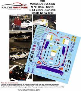 【送料無料】模型車 スポーツカー デカールランサーエボモンテカルロラリーラリーdecals 124 ref 240 mitsubishi lancer evo v verini rallye monte carlo 1999 rally