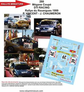 【送料無料】模型車 スポーツカー デカールルノーメガーヌビンセントラリーデュラリーdecals 124 ref 0280 renault megane vincent rallye du rouergue 1999 rally
