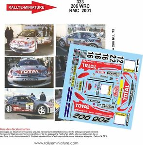 【送料無料】模型車 スポーツカー デカールプジョーオリオールモンテカルロラリーラリーdecals 124 ref 0323 peugeot 206 wrc dider auriol rallye monte carlo 2001 rally