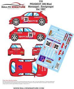 【送料無料】模型車 スポーツカー デカールプジョーマキシラリーdecals 124 ref 110 peugeot 306 maxi manzagol rallye du var 1997 rally