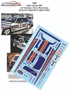 【送料無料】模型車 スポーツカー デカールオペルアスコナアリバタネンラリーモンテカルロdecals 124 ref 1582 opel ascona 400 ari vatanen rally monte carlo 1983