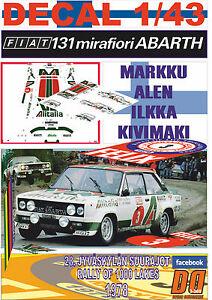 【送料無料】模型車 スポーツカー デカールフィアットアバルトdecal 143 fiat 131 abarth markku alen 1000 lakes r 1978 winner 12