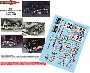 【送料無料】模型車 スポーツカー ディーキャル118670renault a310 lamiraultde1981decals 118 ref 670 alpine renault a310 lamirault rally tour de corse 1981
